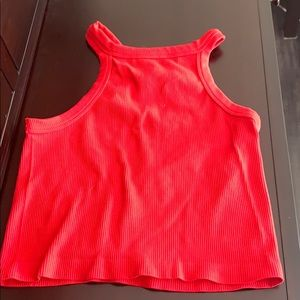 bright red halter top cropped
